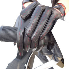 Full Fingers Motorbike Leather Driving Gloves With Knitted Fabric Cuff