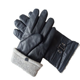 Dobby Style Mens Soft Leather Gloves Wool Lined Touch Screen Comfortable Type