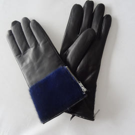 Sheepskin Womens Soft Leather Gloves Wool Lining Simple Classic Style