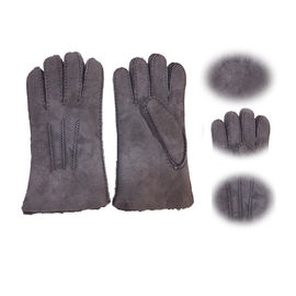 Winter Lamb Fur Merino Shearling Sheepskin Gloves Grey Color Fashion Style