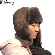 Russian sheepskin Leather Trooper Hat Australian Shearling Ushanka Winter trapper hat