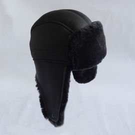 High quality wholesale double face shearling trapper sheepskin hat