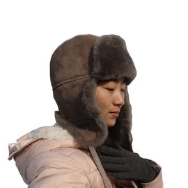 Russian Winter Earflaps Lamb Fur Leather hat Australian Shearling Sheepskin Men Women Ushanka Trapper Hat