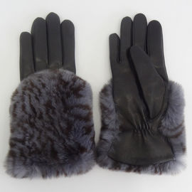 Rabbit Fur Back Full Finger Women Leather Gloves Sheepskin Wool Lined