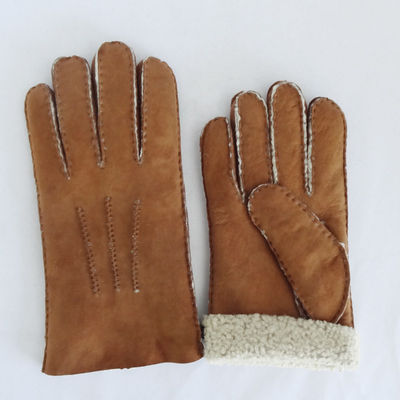 Hand Sewing Fur Lined Sheepskin Men Merino Leather Gloves
